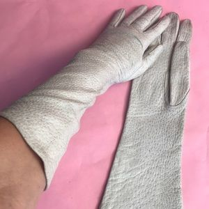 Vintage light gray leather long gloves